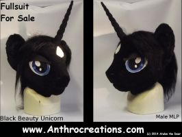 FIN Head MLP Unicorn Male POny - Black Beauty by AtalontheDeer