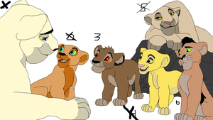 Lioness and cubs adopt by werewolftg