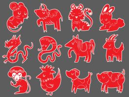 Tutorial: Chinese Zodiac Icons by marywinkler