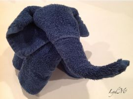 Towel Elephant in Blue by LydMc