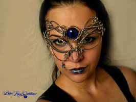 Masquerade Mask - Wire Wrapped Dragon Eye Tear 2 by LadyPirotessa