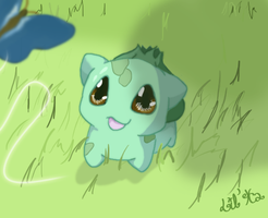 Bulbasaur and Butterfly by lil-ha