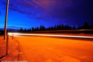 highway lights by ISLEOFMANNPHOTOS