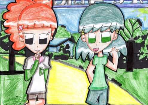 Rie and Midori at the park (crossover) by Daniela56438