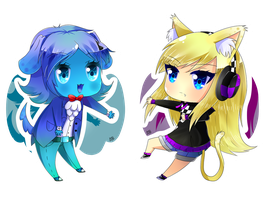 Chibis: Puppy!Blusya and Kitty!Lucy by xGrand-Finale