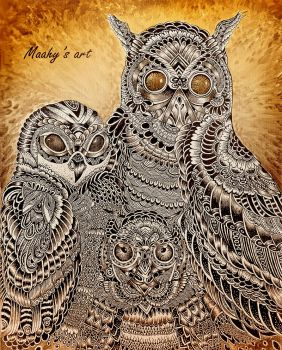 Owl family by MaahyAbdul