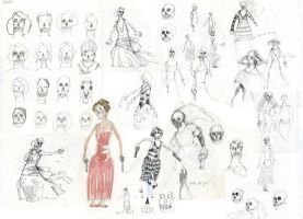 Skull Girl Sketches Montage 01 by benjaminography