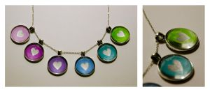 Colorful pendants with silver Hearts by Kattvalk