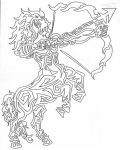 Tribal Sagittarius Lineart by Back-Off-I-Bite