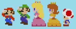 Mario And The Co. In 8-Bit by PrincessPuccadomiNyo