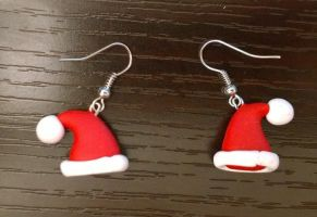 Santa Hat Earrings by Airy-Styles