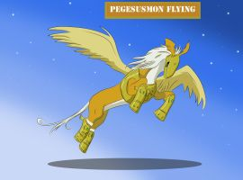Pegasusmon Flying by Louisetheanimator