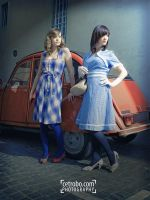 Blue dress and red car by cetrobo