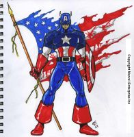MARKER COLORED CAPTAIN AMERICA by Galtharllin