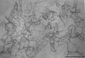 Fanstasy fight lineart by iEvgeni