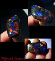 Red and Blue Gem Matrix Opal by jessa1155