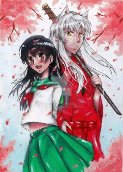 Kagome and Inuyasha by Miu-koru