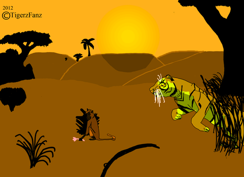 Tiger Hunting A Monkey by TigerzFanz