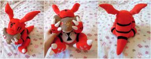 Guilmon eating bread by d215lab
