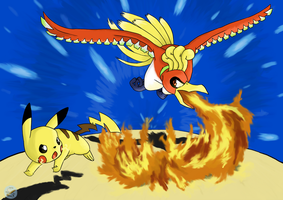 Commission - Ho-oh Vs. Pikachu by Flying-pen
