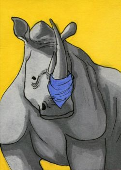 Rhino ATC by bruisedhound