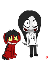 jeff the killer and smile dog chibi doodle by Love-Finds-Adventure