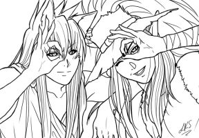 Youko and Kuronue - lineart by Yon-kitty