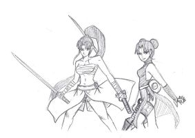 Kei and Tenten_ Warrior women by mattwilson83