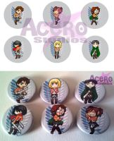 Attack On Titan Button Set by AceroStudios