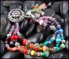 Lampwork and Sterling Bracelet - Mandala by andromeda