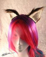 Small Brown Cat Furry Cosplay Flexi Ears by LiChiba
