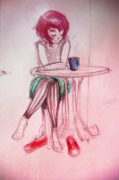 Ramona Flowers drinking her tea by Ka-ou