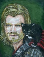Thor and a Kitten by Evanoch