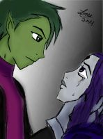 BBRAE: Beastboy and Raven tear by lesliemint
