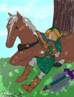 Link and Epona by KonekoRyu
