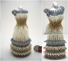 Floral Long Layered Bead Dress by pinkythepink