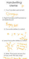 Handwriting meme by Oranguin
