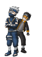 Kid Kakashi and Young Obito by Jaden-Lau
