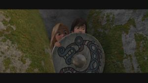 Rapunzel hiding with Hiccup by x12Rapunzelx