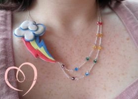 Rainbow Dash necklace worn by ilikeshiniesfakery