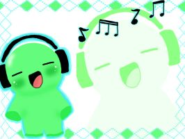 Lime green Headphone Buddy by mkirby712