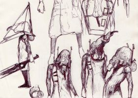 204 - unmasked Pyramid Head sketch by Dalicris