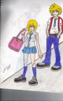School Namine and Roxas by TaniPixie