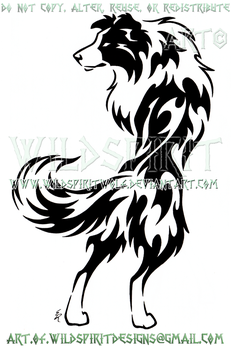 Alert Border Collie Tribal Design by WildSpiritWolf
