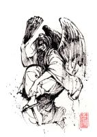 Tengu sumi ink sketch by MyCKs