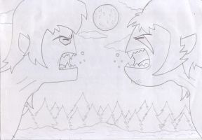 INSANITY WOLF VS COURAGE WOLF (NOT COLORED) by Scottmister