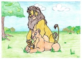 Mommy and Daddy Lion with Cub by sobie182