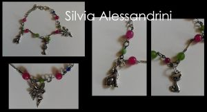 Wolf _ Fairy _ Cat charms bracelet by SilvieTepes