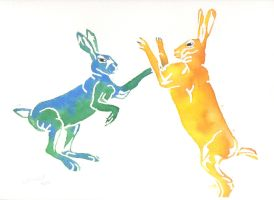 March Hares: Blue vs Yellow by SuicideNeil