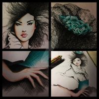 Fashion illustration - asian girl - afro by Miss-JM